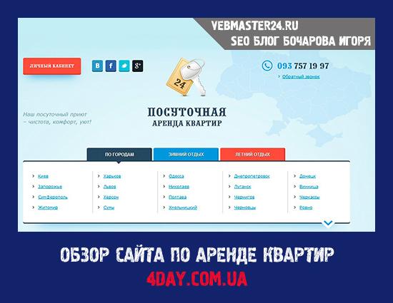 Обзор сайта по аренде квартир 4DAY.COM.UA
